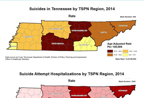 Geographical Differences Suicide is more common in some parts of Tennessee than others. Rural areas often lack mental health resources such as clinics, therapists, or hospitals with psychiatric units.