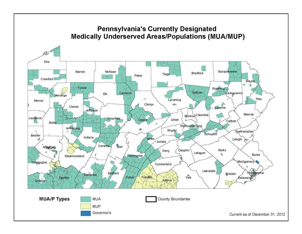 Health Profile (Continued) Medically Underserved Areas/Populations (MUA/Ps) Access to Care for PA (continued) The federal Medically Underserved Area/Population designation identifies areas or