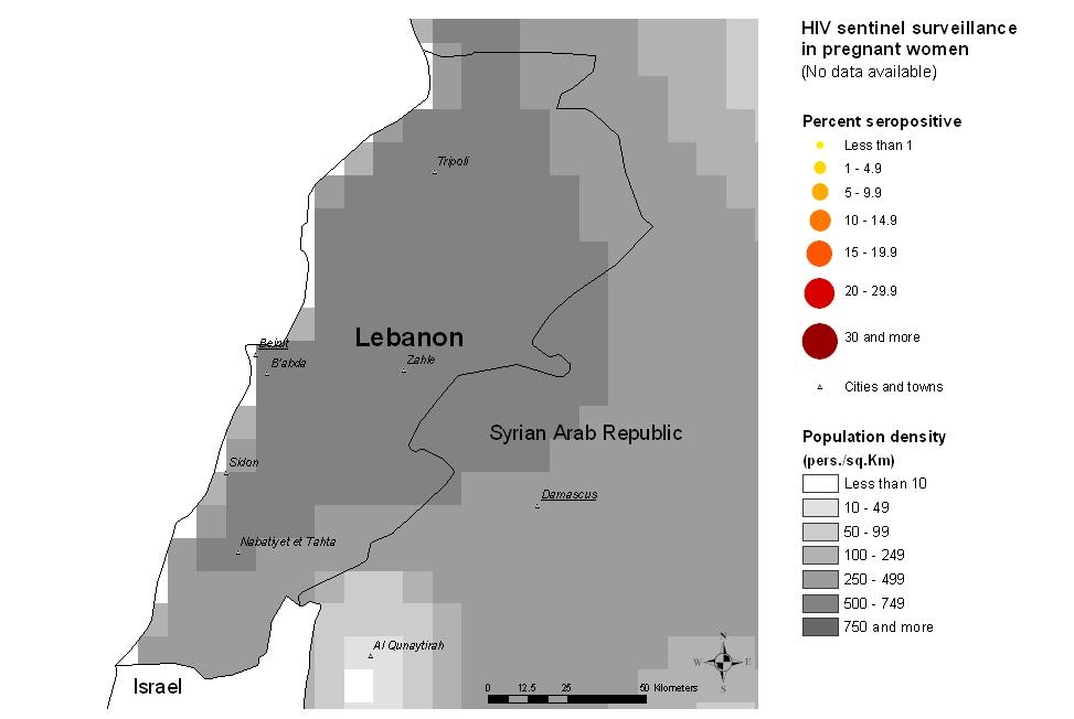 5 Lebanon Maps & charts Mapping the geographical distribution of HIV prevalence among different population groups may assist in interpreting both the national coverage of the HIV surveillance system