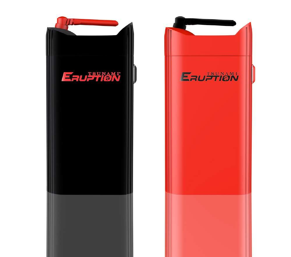 ERUPTION AIR HEATING TECHNOLOGY ERUPTION 3 IN 1 VAPORIZER KIT 32 The Tsunami Eruption has a 2200 mah battery, can be used for dry herb, liquid or oil and utilizes a