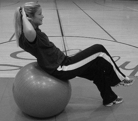 Crunch w/ Marching Legs Stability Ball Reverse Crunch Stability Ball Lie supine on ball.