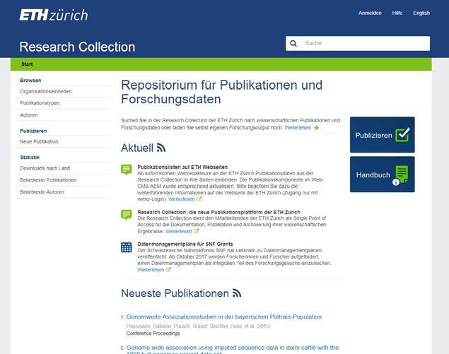 OA services at ETHZ ETH Library services Green Road: OA repository