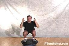 This movement utilizes the Bosu ball with the flat side up. With the hands to the side of the body, perform a squat movement. Repeat for desired number of reps.