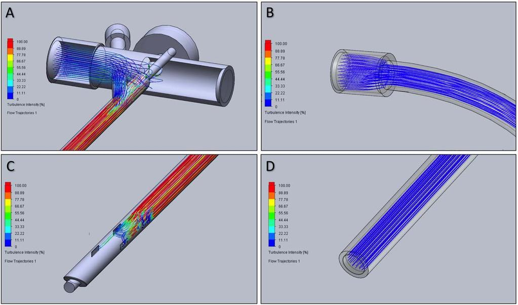 Fig. 2. Images of SOLIDWORKS computer-aided design models of a 3.5 bronchoscope and 4.0 endotracheal tube with flow analysis.