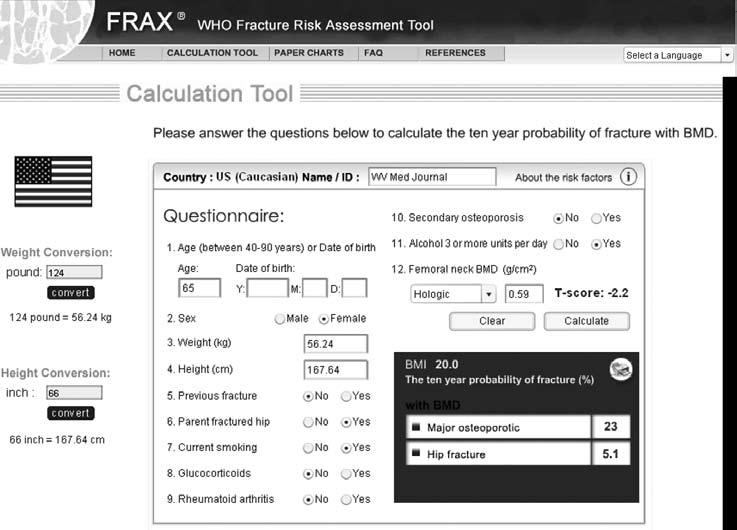 Scientific Article Figure 3. FRAX WHO Fracture Risk Assessment Tool: www.shef.ac.uk/ FRAX. The US Caucasian calculation tool is shown.