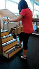Begin with 2 inch stair and increase height gradually as strength improves.