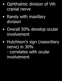 Ophthalmicus Ophthalmic division of Vth cranial nerve Rarely with maxillary division Overall 50%