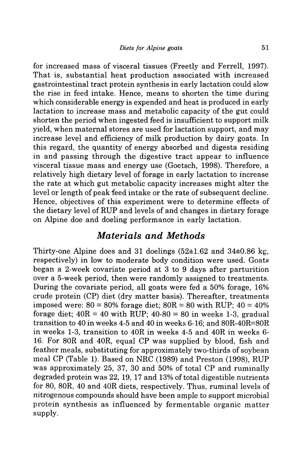 Diets for Alpine goats 51 for increased mass of visceral tissues (Freetly and Ferrell, 1997).