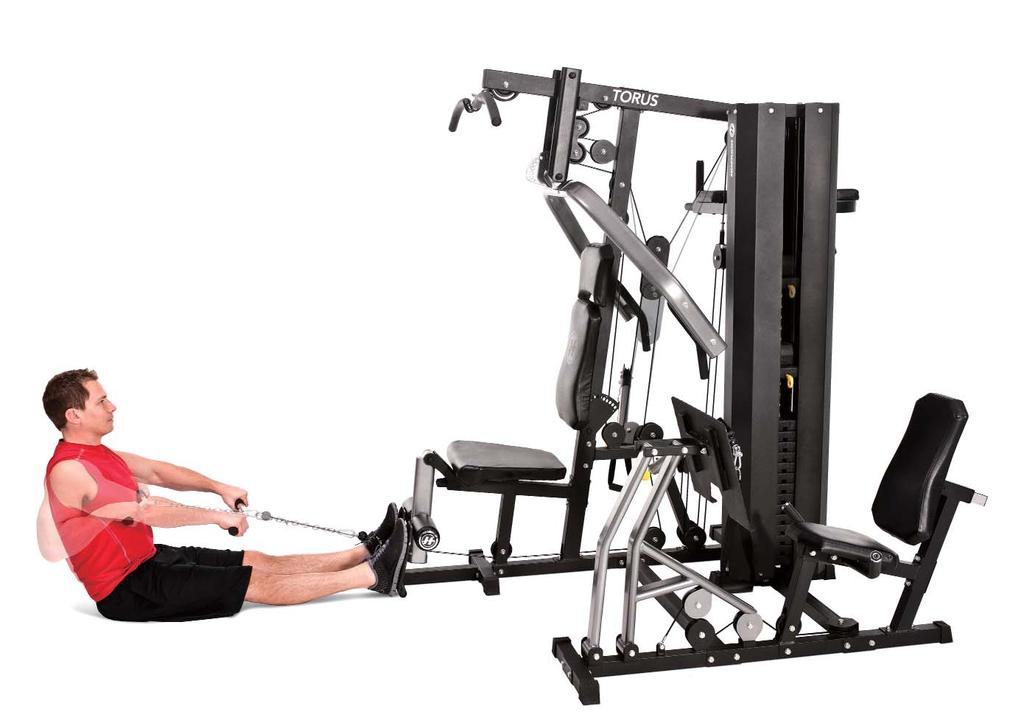 SEATED CABLE ROW 5 1. Attach the short handle (low row bar) to the lower pulley. 2.