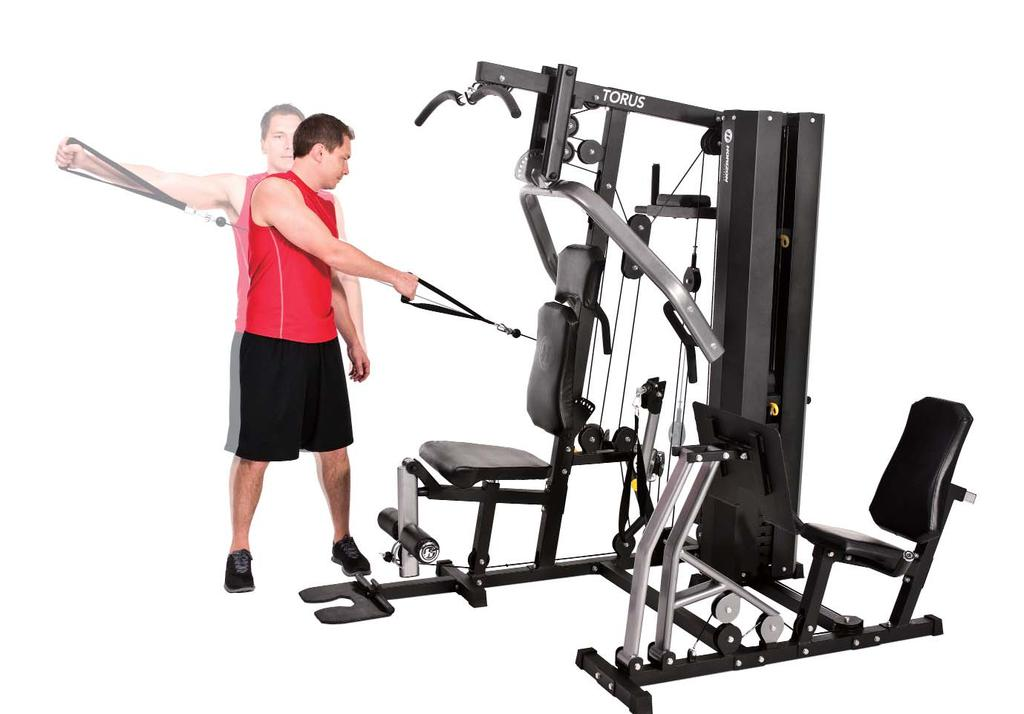 DYNAMIC CABLE REAR DELT FLY 7 1. Adjust the free-motion arm to the upward position. 2. Stand with your side to the machine while gripping the arm strap. 3.