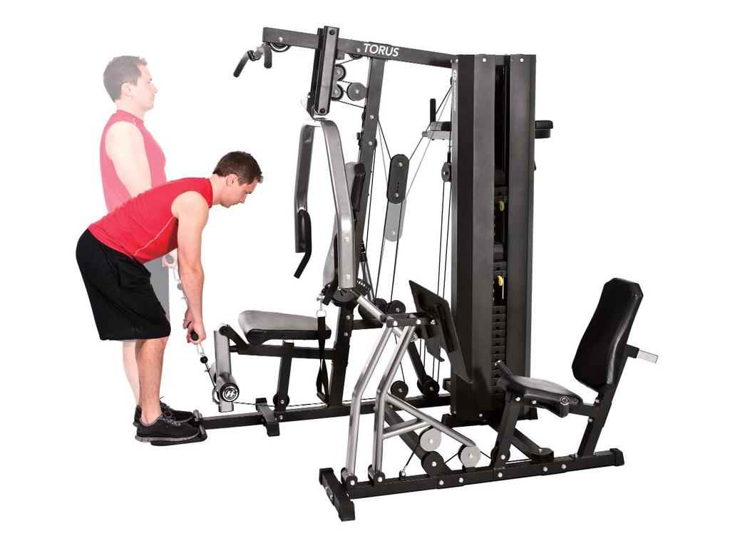 LOWER BACK EXTENSION 5 1. Attach the short handle (low row bar) to the machine. 2. Stand on the foot plate facing the machine. 3.