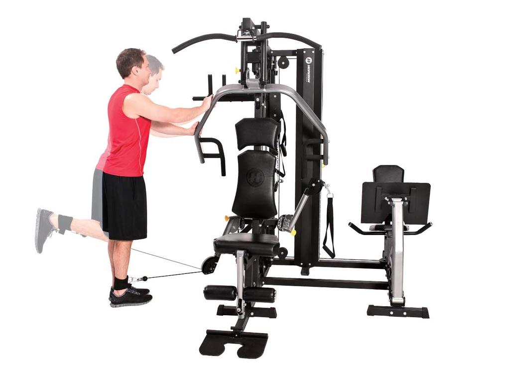FREE-STANDING HAMSTRING CURL 7 1. Adjust the free-motion arm to the downward position and attach ankle strap. 2.