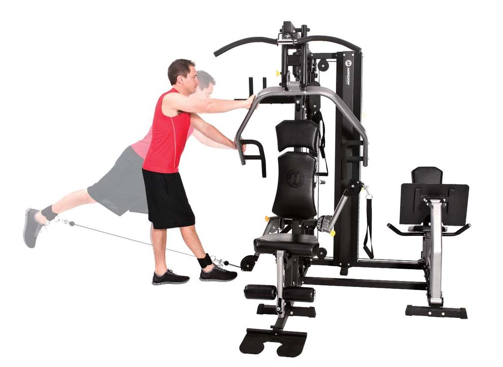 GLUTE KICKBACK 7 1. Adjust the free-motion arm to the downward position and attach ankle strap. 2. Stand facing the machine with the cuff on your right ankle and hold your hands on the press arm. 3.