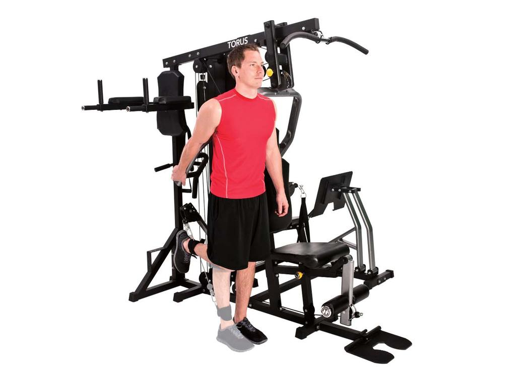 STANDING LEG EXTENSION 7 1. Adjust the free-motion arm to the upward position and attach ankle strap. 2. Stand beside the machine with the cuff on your right ankle and hold your hand on the press arm.