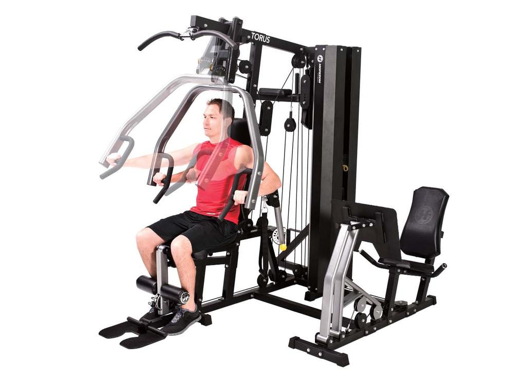 DECLINE CHEST PRESS 2 1. Adjust the seat to a higher position to ensure the hand grips are lower than the center of your chest. 2. Adjust the press arms with the adjustment mechanism until they are in a comfortable forward-to-back position for your chest press.