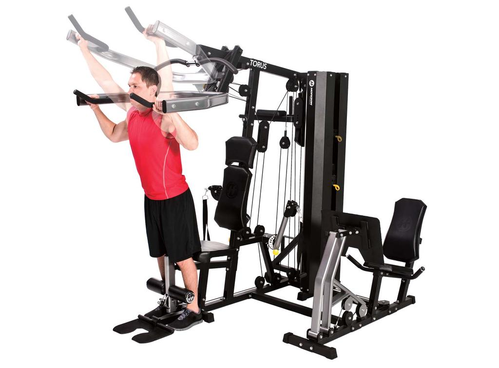 STANDING SHOULDER PRESS 2 1. Adjust the press arm mechanism to the shoulder press setting, which aligns the press arms with your shoulders. 2. Face away from the machine, grasp the press handles and tip your body forward slightly while keeping your torso straight.