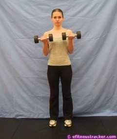 7. DUMBBELL CURL Stand in good body alignment (abs tight, chest up, back straight) with feet in comfortable position. Keeping arms at side, hold dumbbells (palms forward).