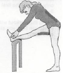 Hamstring Stretch Stretches the hamstrings and lower back. Put 1 foot up on a chair.
