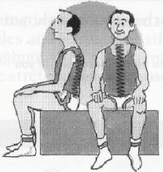 Hold for 5 seconds, do 8 times. Switch legs. Starting Position Sit in a chair with your feet flat on the floor.