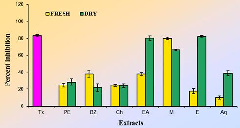 When compared to standard, methanol, ethanol, ethyl acetate, chloroform, benzene extracts showed considerable activity while petroleum ether and aqueous extracts showed least activity.