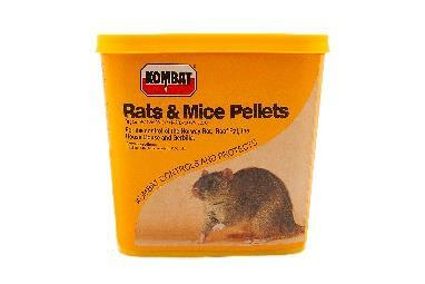 KOMBAT RATS & MICE PELLETS Registration No L6424, ACT 36 OF 1947 is an anticoagulant (substance that thins the blood, thus not allowing it to clot) rodenticide which controls rodents.
