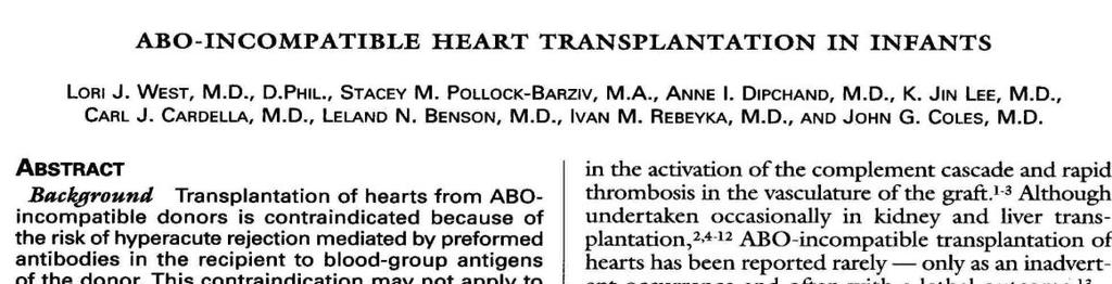 ABO-incompatible Heart Tx 10 infants transplanted with ABOincompatible cardiac grafts no hyperacute rejection