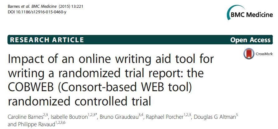 Aim was to evaluate the impact of a writing aid tool (WAT) based on the CONSORT statement and its extension for non-pharmacologic treatments on the completeness of reporting