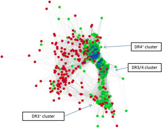 ZHAO ET AL. 11 of 16 FIGURE 5 Organized clustering network of all cases (green) and controls (red), based pairwise distances of similarity measures between all subjects.