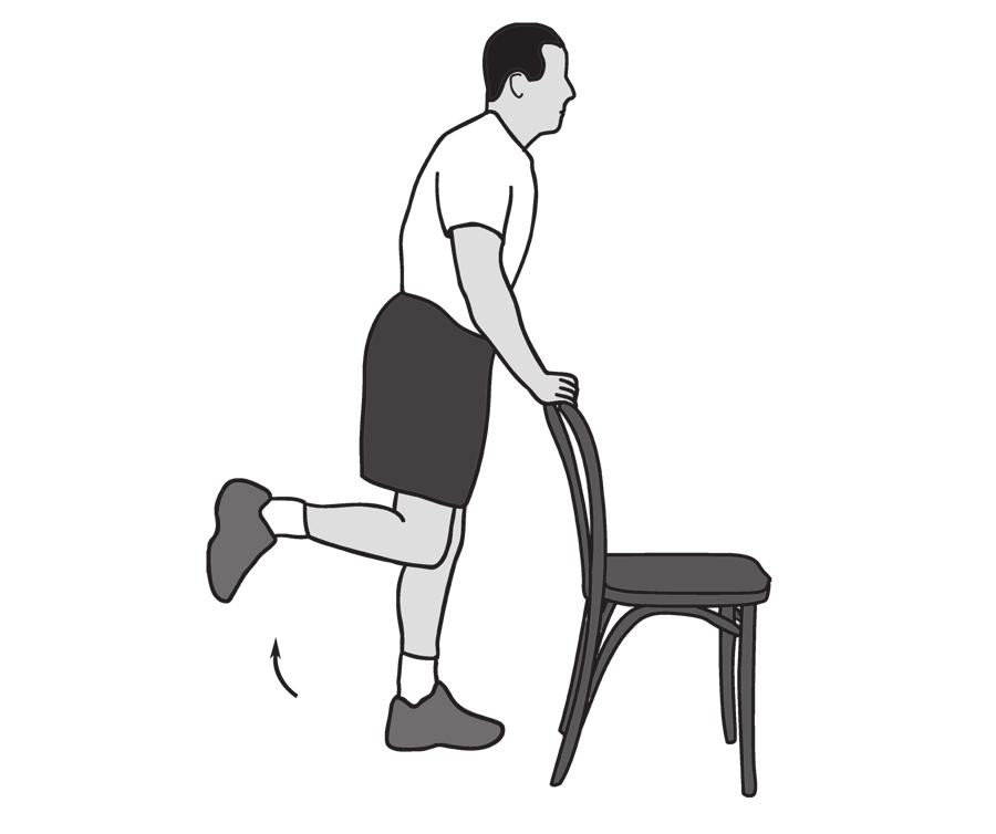 4. Half Squats Main muscles worked: Quadriceps, gluteus, hamstrings You should feel this exercise at the front and back of your thighs, and your buttocks by holding hand weights. Begin with 5 lb.