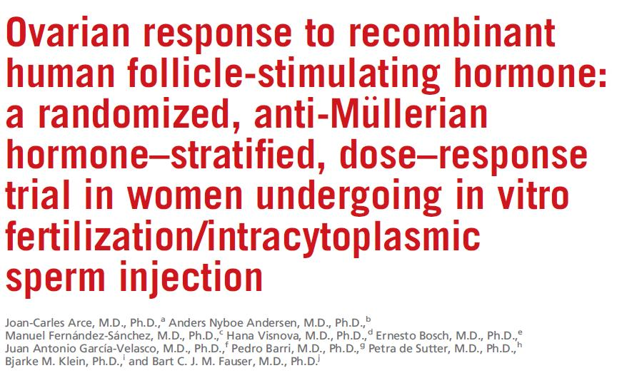 F&S 2014 Study objective Design Results conclusion Evaluate dose response new rfsh Study influence of initial AMH RCT, 7 centers, 265 women undergoing IVF/ICSI, AMH stratified Dose dependent increase