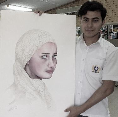 In 2014, when Hussaini was studying SACE Art at St Michael s College, he and two other Australian Refugee Association volunteers Sue Thompson and Kirsten Treloar decided to create a portrait