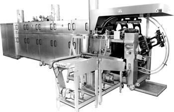 PRODUCTS & SERVICES ZAW Automatic Cone Baking Machine The baking speed/period is adjusted between 1-4 minutes.(approx). These baking moulds are mounted on carriages fitted onto an endless chain.