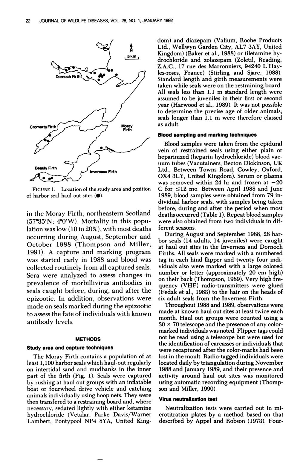22 JOURNAL OF WILDLIFE DISEASES, VOL. 28, NO. 1, JANUARY 1992 Invenss Flrth LJ FIGURE 1. Location of the study area and position of harbor seal haul out sites (#{149}).