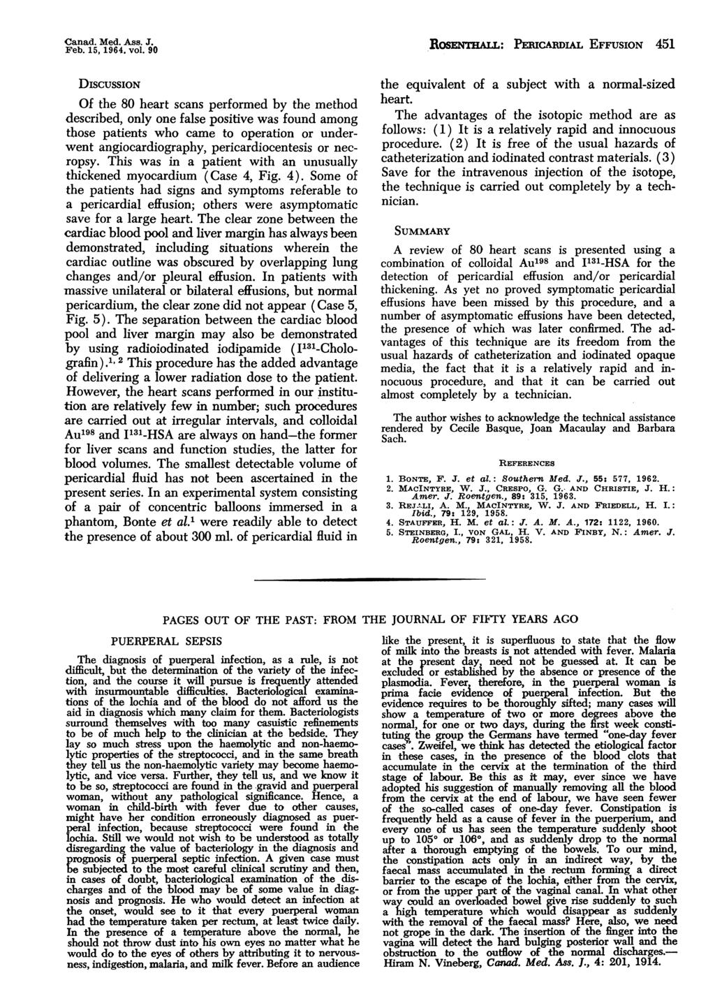 Canad. Med. Ass..* Ros.'raAn.: PERICARDIAL EFFUSION 451 Feb. 15, 1964. vol.