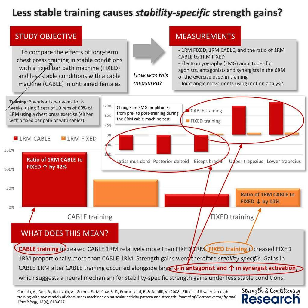 Compare the effects of training under different stability conditions.