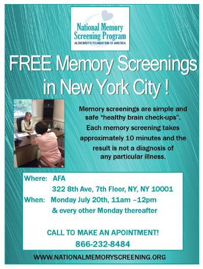 Example f a scial media pst t advertise memry screenings: Early memry screenings can be helpful! Memry screenings are FREE and take apprximately 10 minutes.