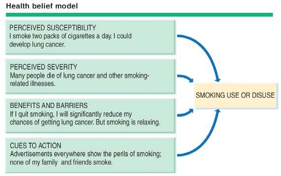 Health Belief Model HBM (Smoking) Theories of Health Behaviour Protection Motivation Theory of Health: adds self-efficacy to the HBM Theory of