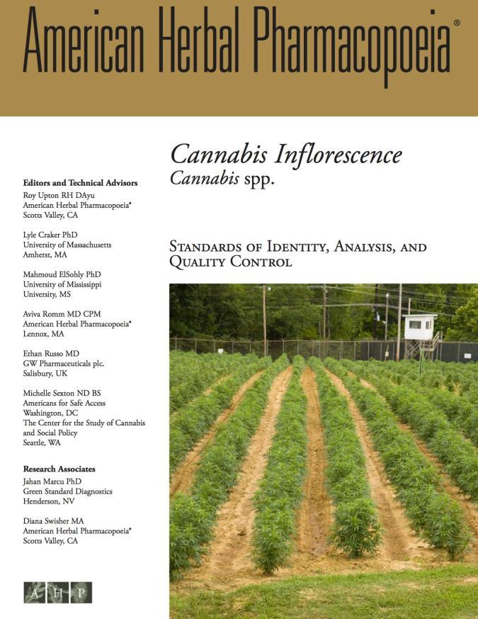 Figure 1. The front cover of the American Herbal Pharmacopoeia Cannabis Monograph (2014). This document has set the standard for cannabis quality control in several U.S. states.