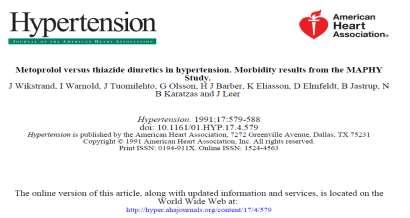 MAPHY trial (Metoprolol Atherosclerosis Prevention in Hypertensives) Wikstrand et al, Metoprolol versus thiazide diuretics in hypertension.