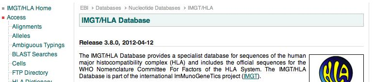 Know Your Nomenclature Version Identify the IMGT/HLA database release number applicable to your data http://www.ebi.ac.