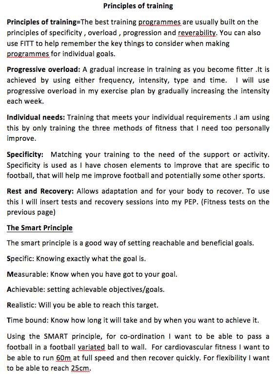 Page 6 of the PEP is shown below. training and SMART targets.