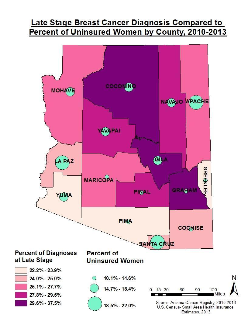 A factor that may influence a late stage breast cancer diagnosis is lack of insurance. This map compares the percent of late stage diagnoses by county to the percent uninsured from that county.