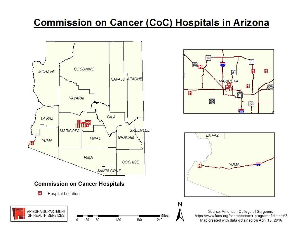 Quality This map shows the 9 locations of Commission on Cancer (CoC) Hospitals in the State of Arizona.