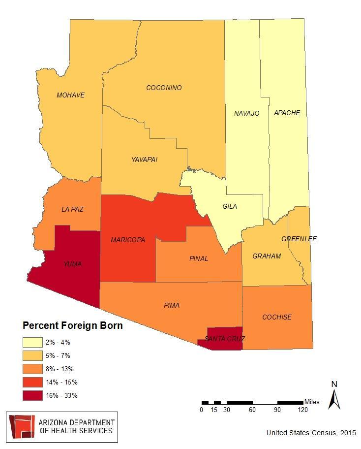 Percent of Foreign Born Persons Arizona has a significant amount of variation in the percent of foreign born individuals living in each county.