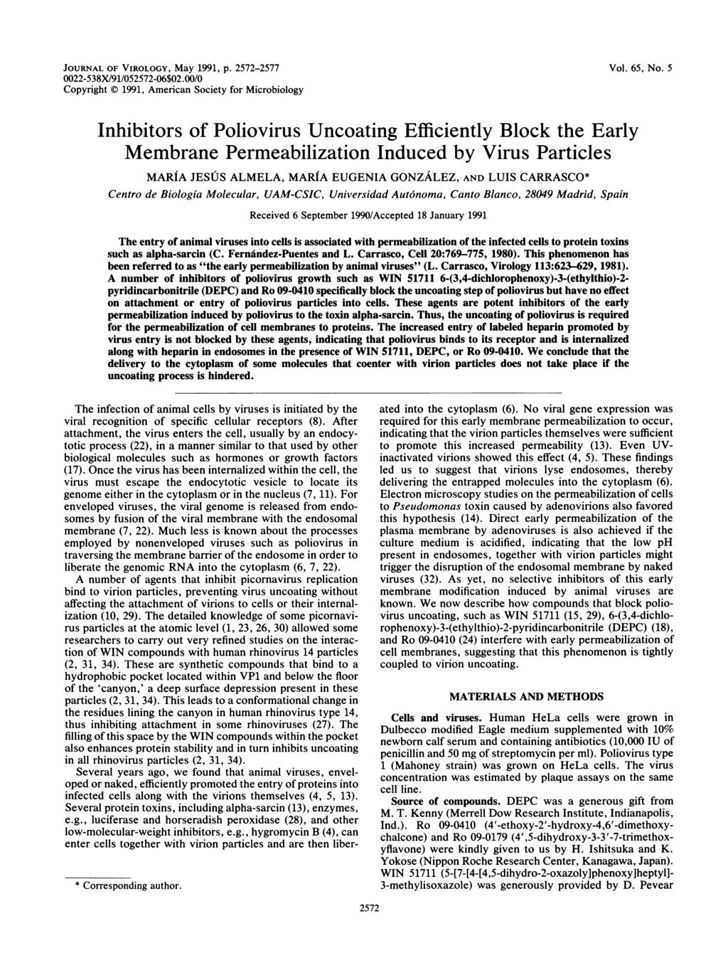 JOURNAL OF VIROLOGY, May 1991, P. 2572-2577 22-538X/91/52572-6$2./ Copyright 1991, American Society for Microbiology Vol. 65, No.