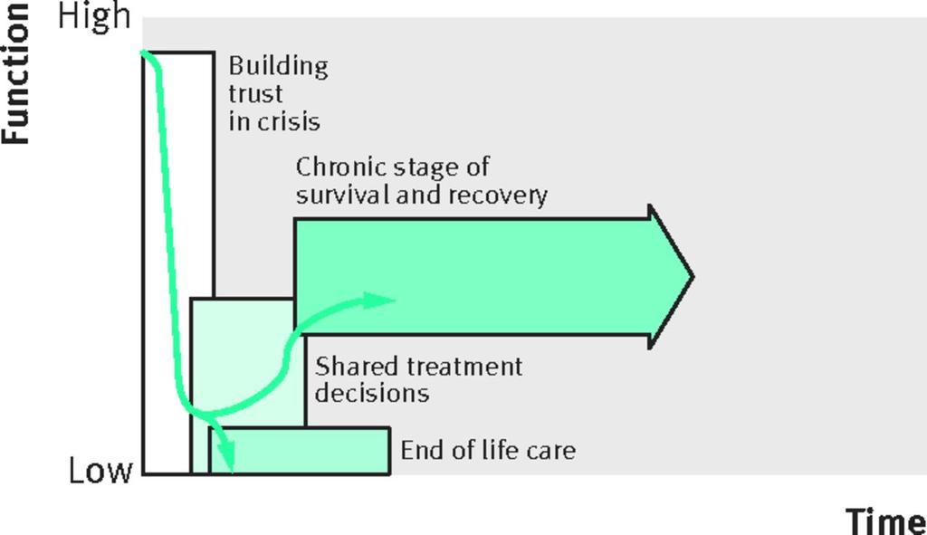 Fig 2 Trajectory for severe acute brain injury patients present with a crisis that may result in early death (often after a decision to withdraw life