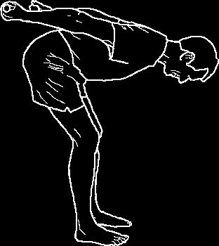 The hands stay high at all times. ACTION: Inhale and bring the elbows high. (Exhaling) lower the elbows as low as they will go, and then push the weights toward a point high on the back wall.