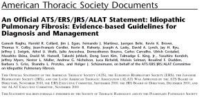 IPF: Diagnosis ATS-ERS-JRS-ALAT 2000 consensus no longer valid ATS-ERS-JRS-ALAT 2011 IPF Idiopathic Pulmonary Fibrosis Major Criteria Exclusion of other known causes of ILD, such as certain drug