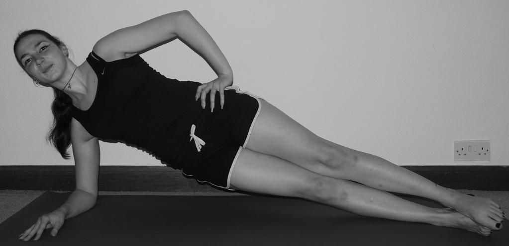 MSE Exercise 4: Side Plank Repeat: hold 30 to 60 seconds repeat at least twice on each side Lay on your side with the forearm of