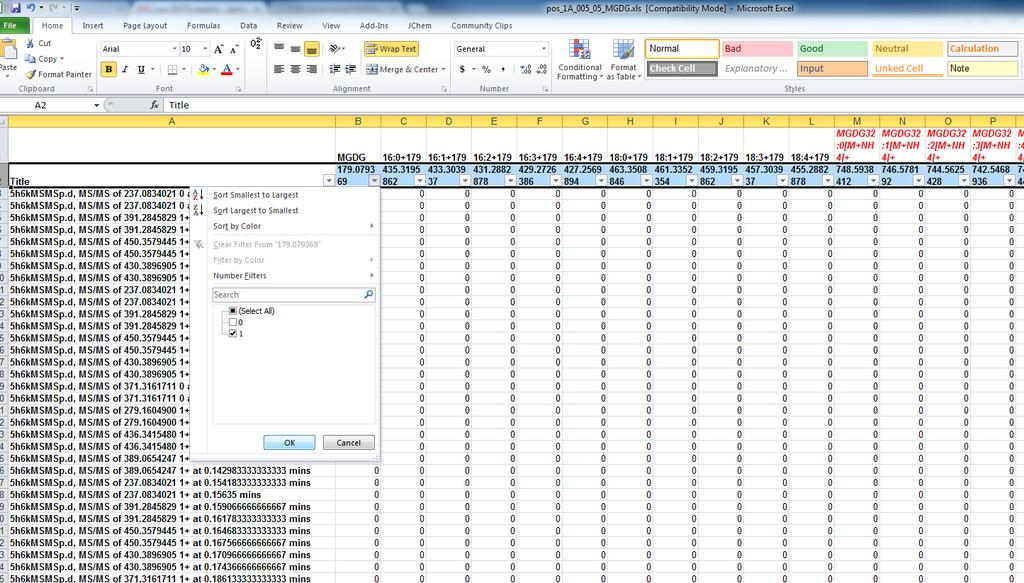 Step 2: Using excel filters to annotate lipids 3.